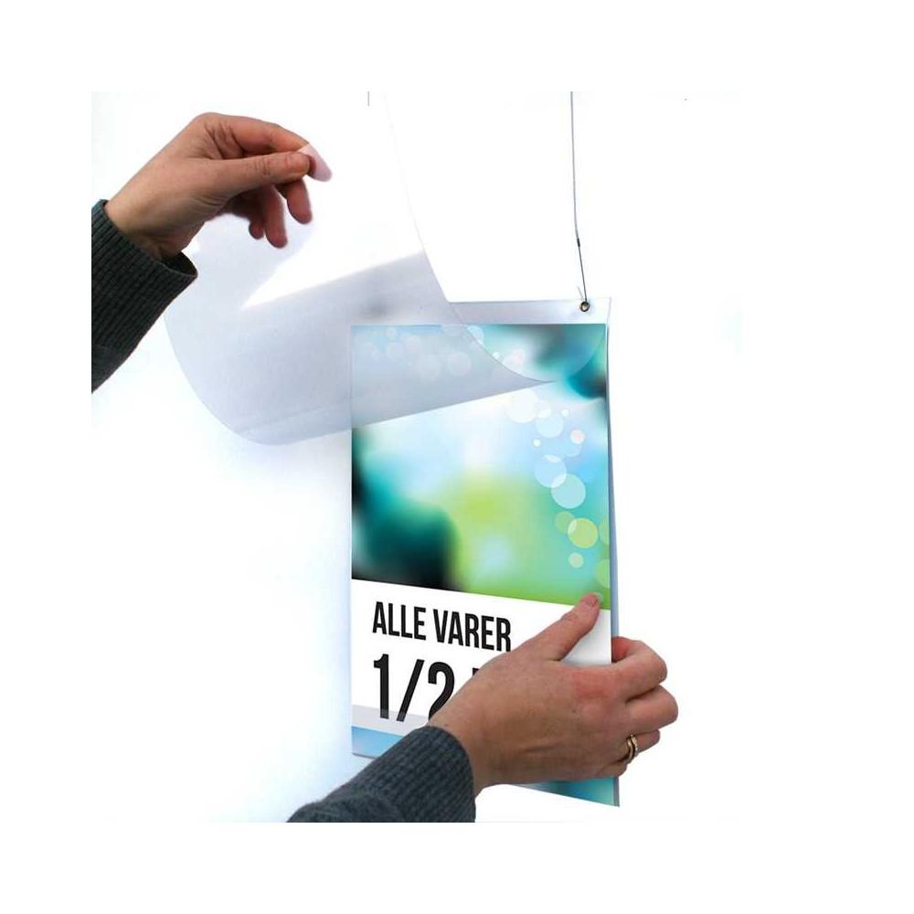 Plakatlomme m/hull til oppheng, skift enkelt plakat