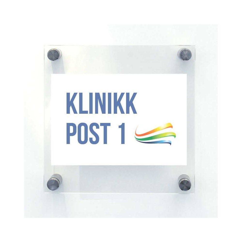 Dørskilt i akryl selges i 3 pk., denne er 15 x 15 cm