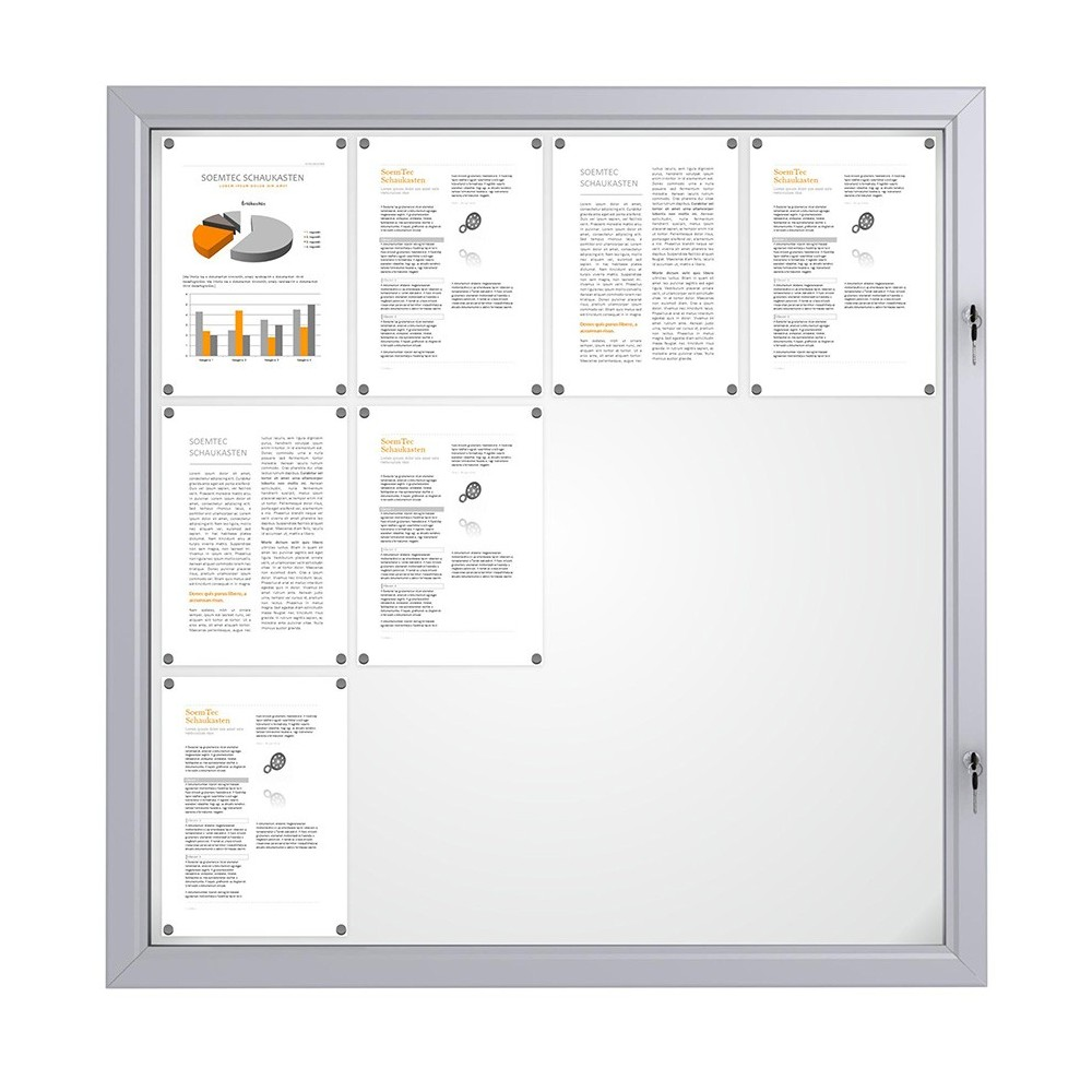 Låsbar oppslagstavle for utebruk med plass til 12 A4 ark