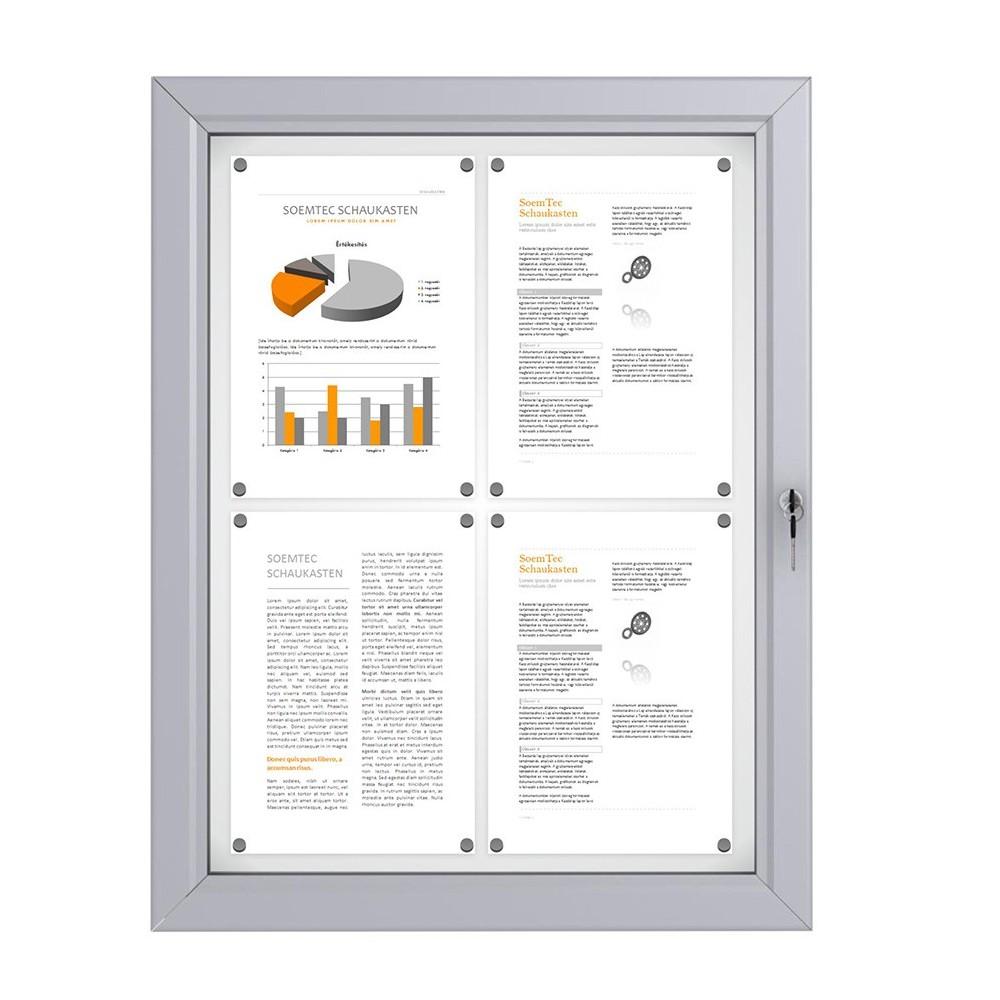 Låsbar oppslagstavle for utebruk med plass til 4 A4 ark