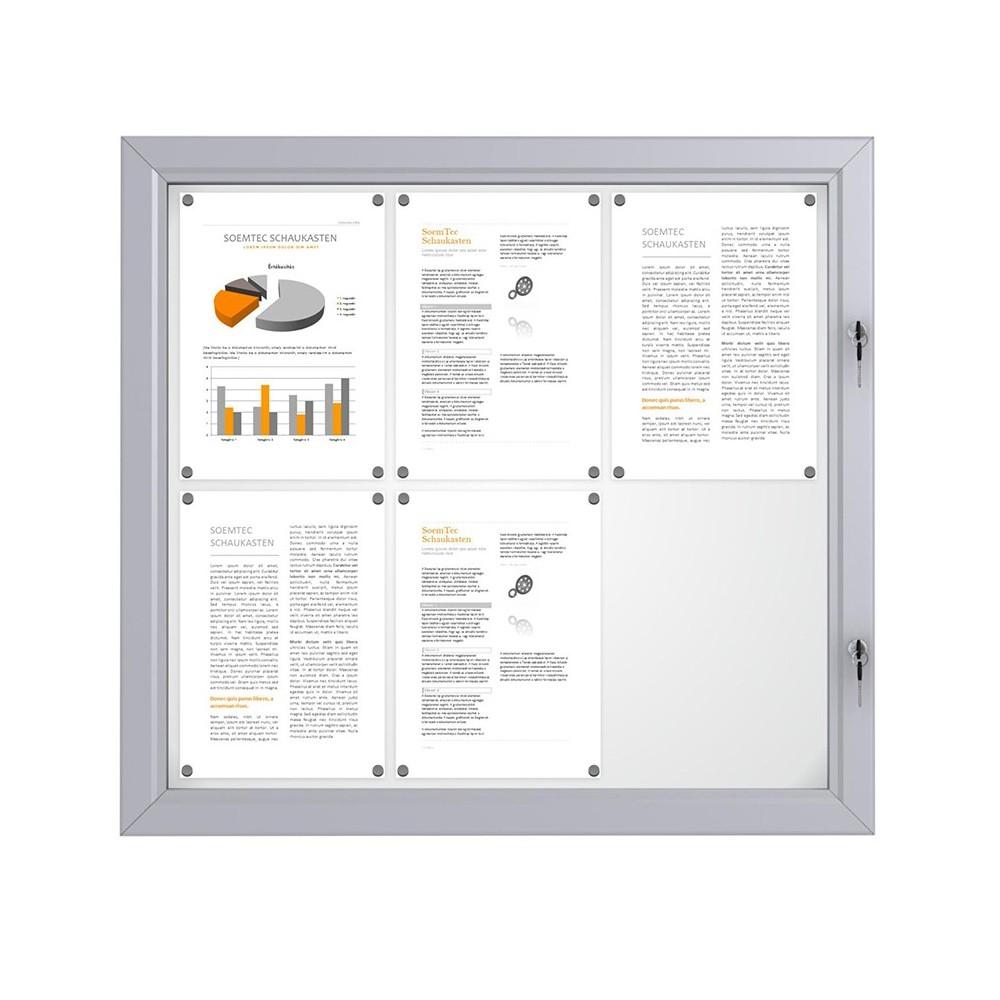 Låsbar oppslagstavle for utebruk med plass til 6 A4 ark