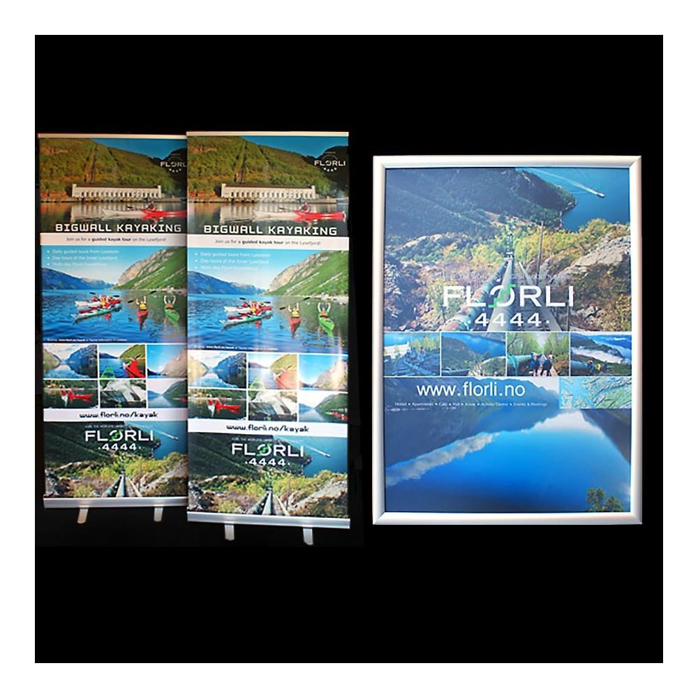 4-farge trykk plakater brukes i rammer, og er det samme papiret som vi bruker i våre roll-up