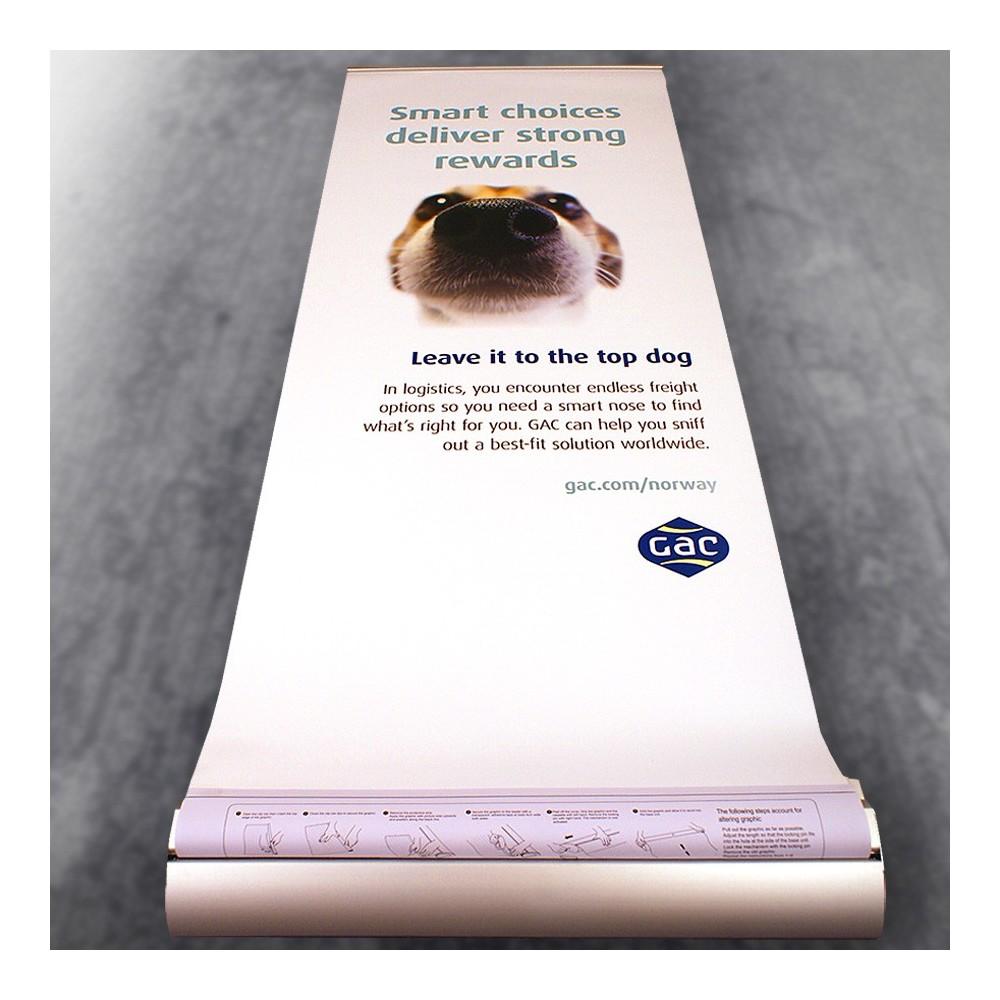Vi trykker flotte roll-up print, Design av roll-up på bildet copyright vår kunde GAC