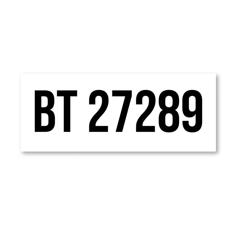 Skilt med valgfri tekst kan f.eks brukes til å markere parkeringsplass med bilnummeret til bilen din
