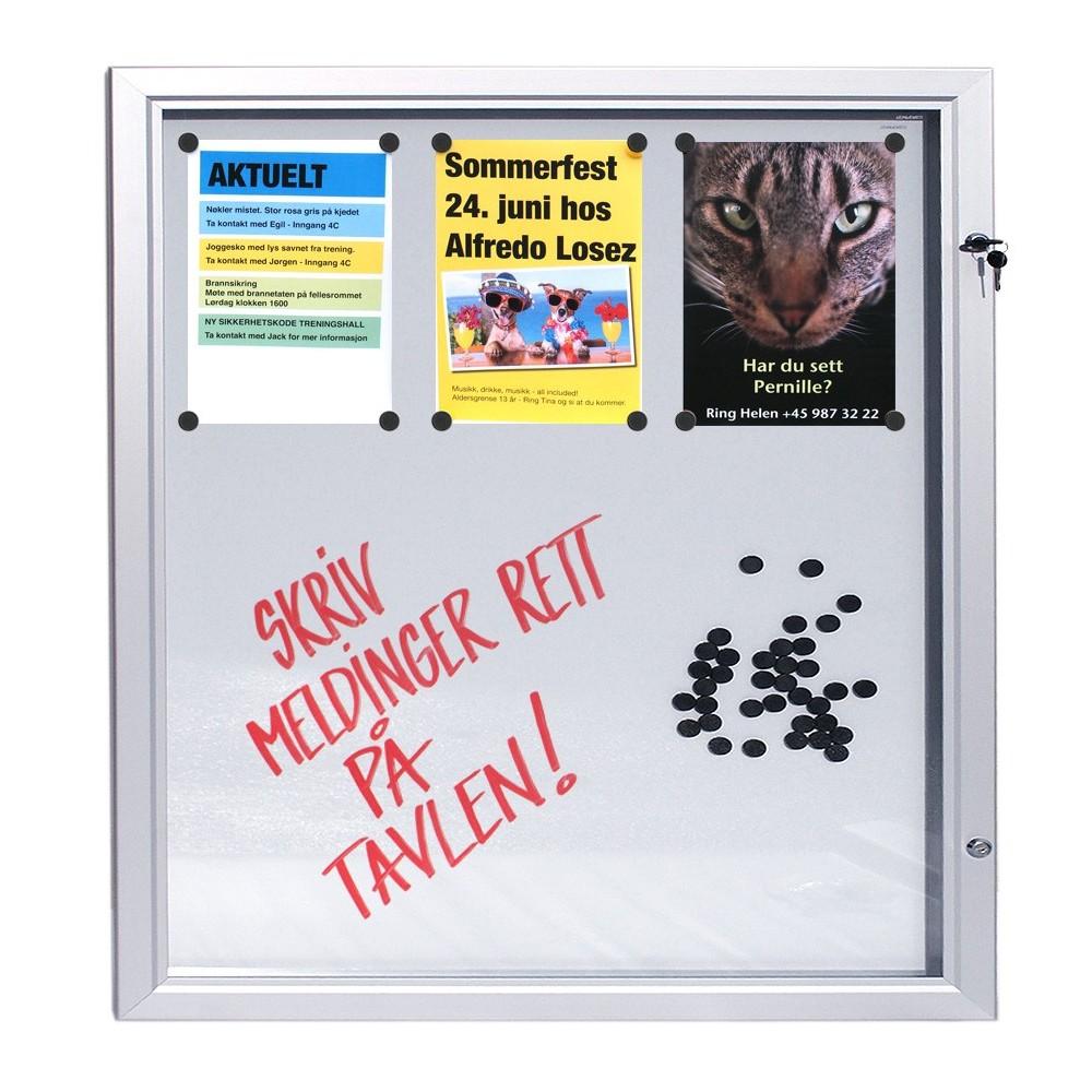 Låsbar oppslagstavle for utebruk med whiteboard