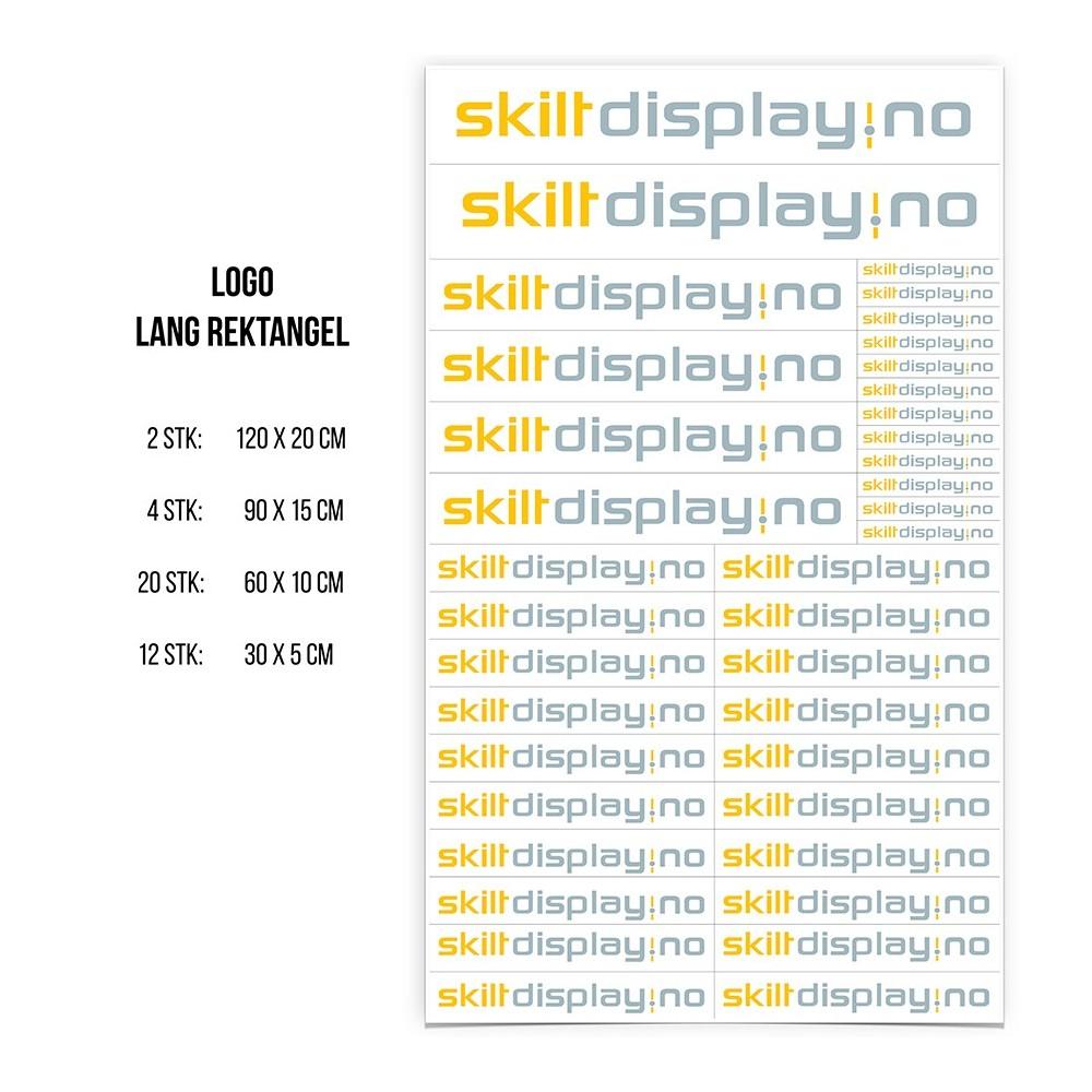 Selvklebende logopakke med lang og smal logo