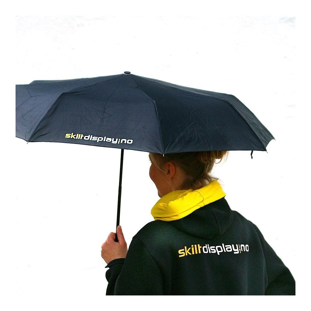 Paraply med logo - liten og kompakt