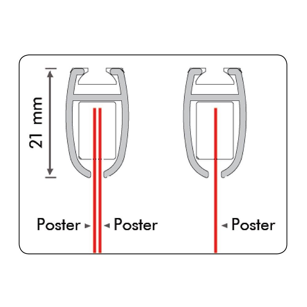 Plakatlist tosidig, kan brukes med en eller to plakater