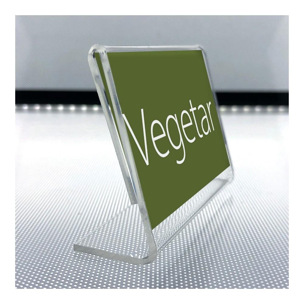 Plexi plakatholder liggende finnes helt ned i A9 format, som passer til etikett i 5,2 cm bredde