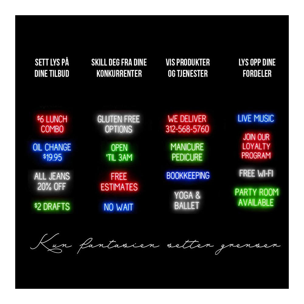 Ledlys bokstaver med neon effekt finnes nå i hele 4 forskjellige farger