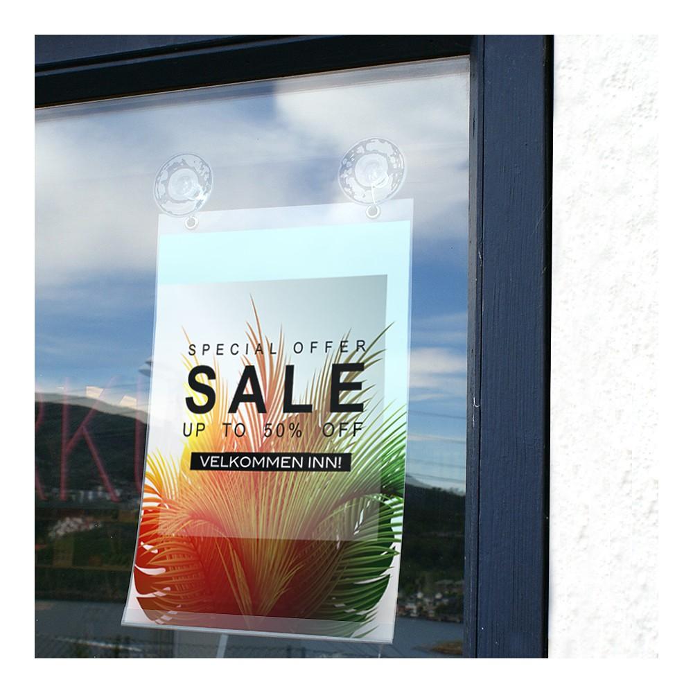 Sugekoppene er f.eks perfekte til bruk i vindu med en av våre plastlommer.