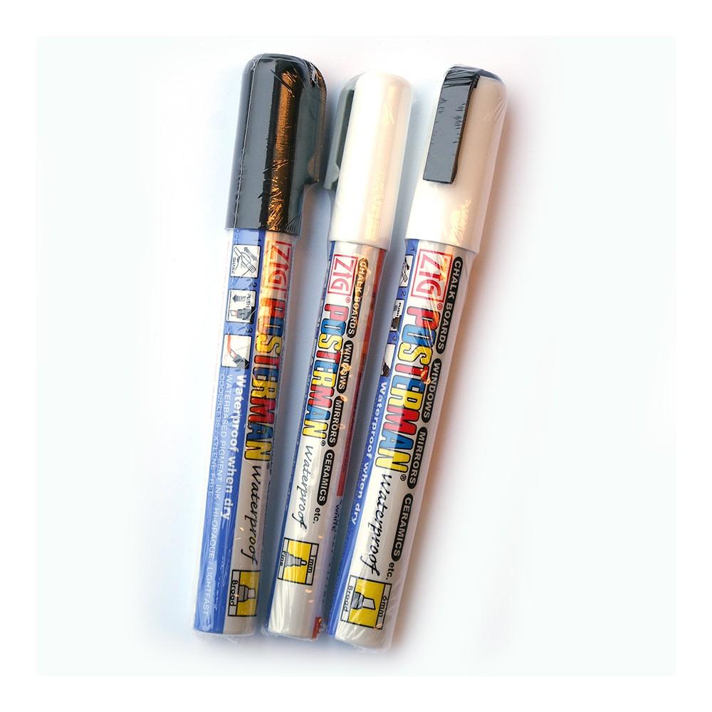 Velg mellom hvit eller sort vannfast tusj for tavle, glass eller whiteboard.