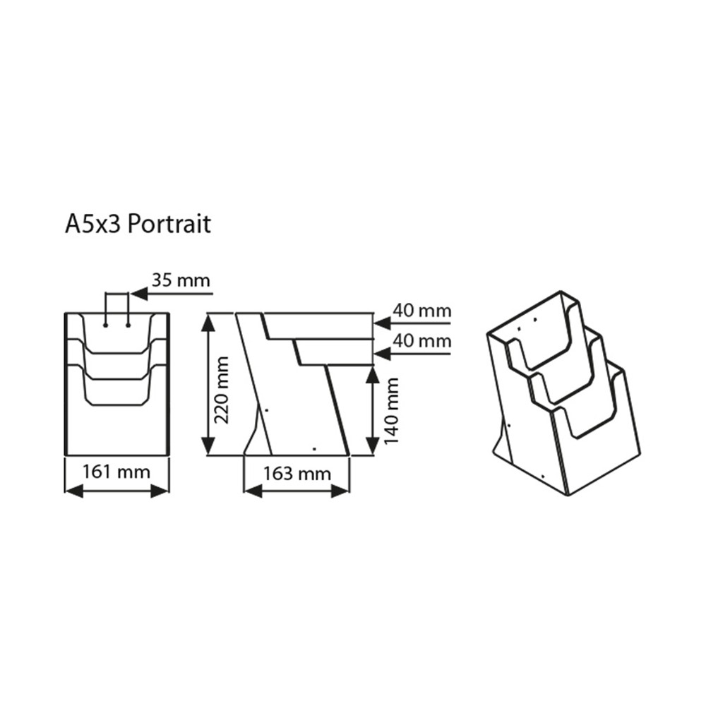 Teknisk tegning A5 trippel brosjyreholder til bord.