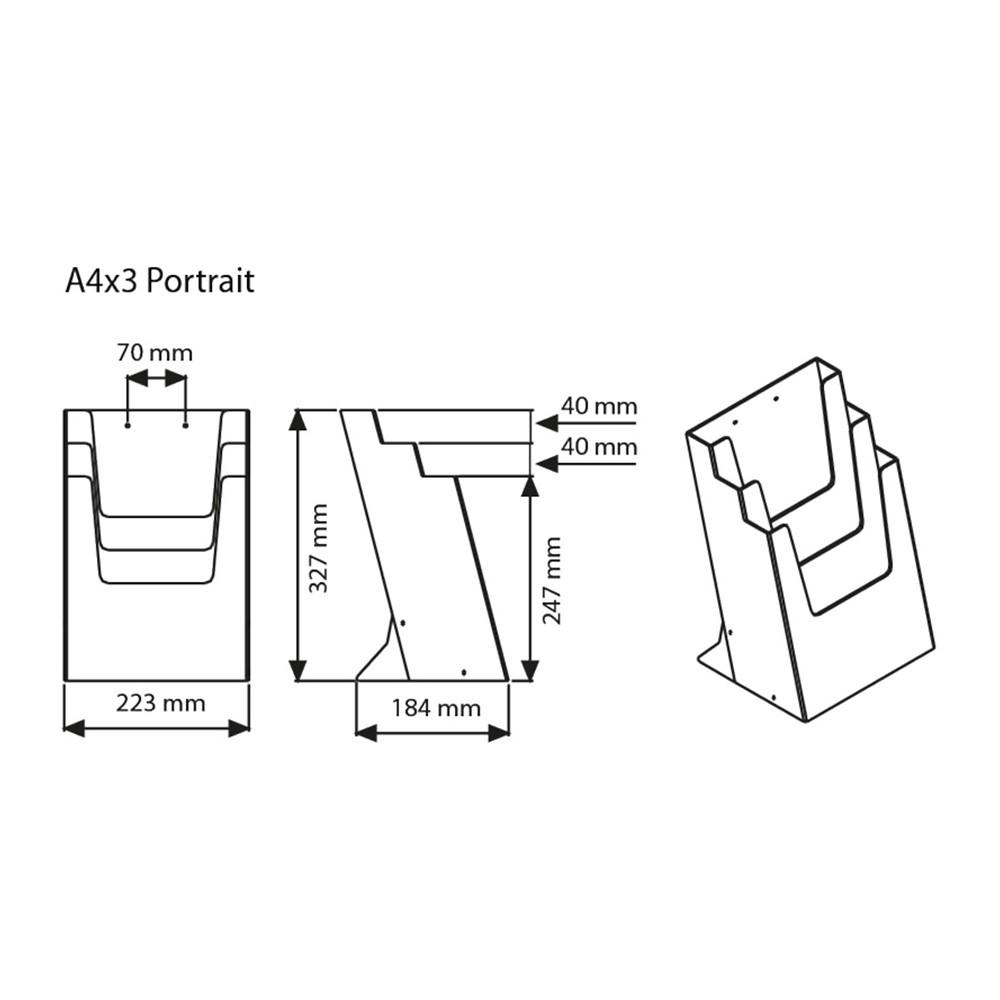 Teknisk tegning A4 trippel brosjyreholder til bord.