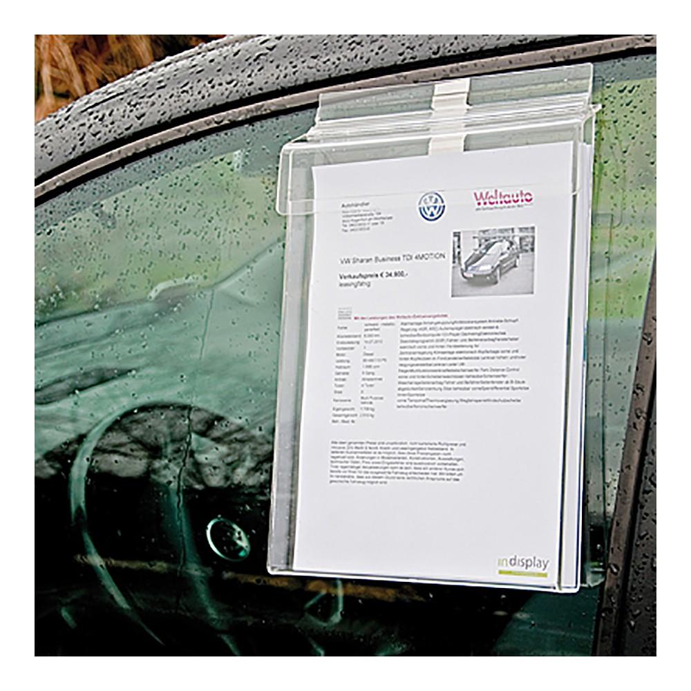 Utendørs brosjyreholder kan henges på bilvindu om du kjøper med oppheng
